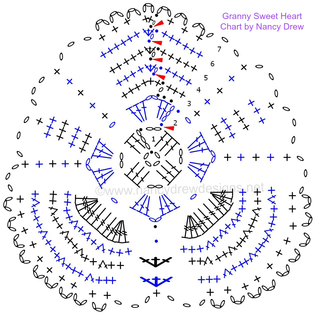 Nancy Drew Designs Diagram Crochet Patterns Crocheted Love Copy Chart For Granny Sweet Hearts