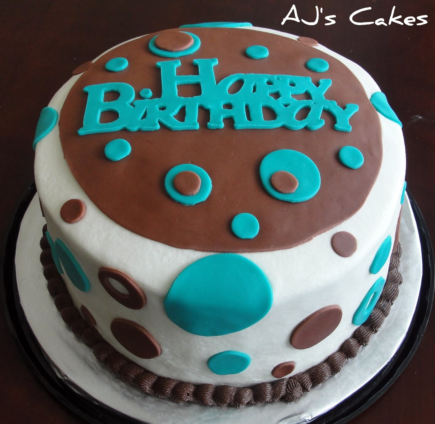 AJ s Cakes: Teal and Brown Birthday Cake