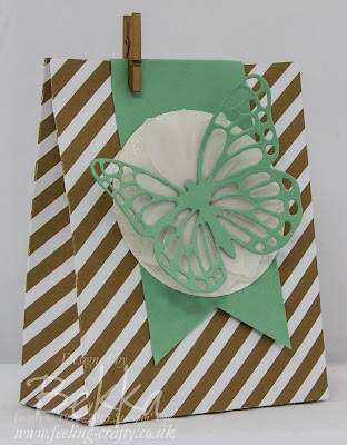 Gorgeous Gold and Mint Macaron Treat Bag made using the Stampin' Up! UK Gift Bag Punch Board - Get it here