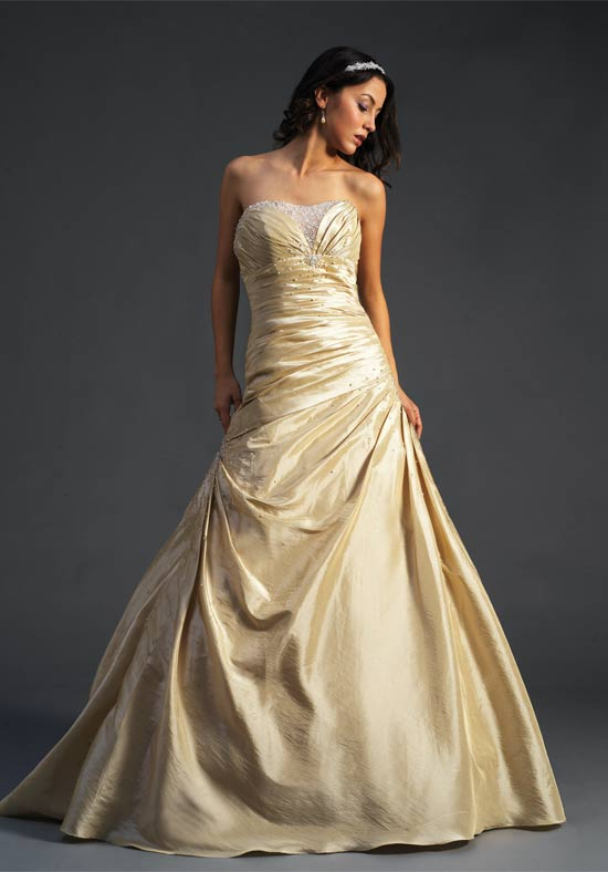 Matte gold wedding dresses are certainly majestic