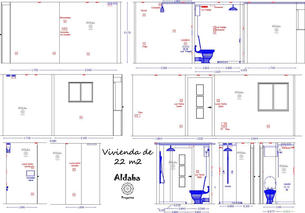 Aldaba proyectos vivienda de 22 m2 proyecto de reforma for Muebles aldaba