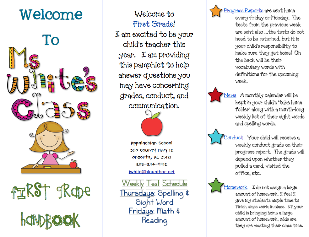 Class brochure first grade blue skies for Meet the teacher brochure template