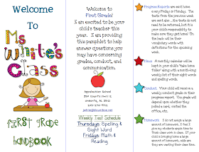 First grade blue skies class brochure for Meet the teacher brochure template