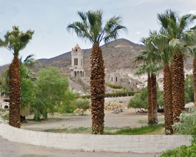 Photoshop crop and revision of the Google Street View image of Scotty's Castle