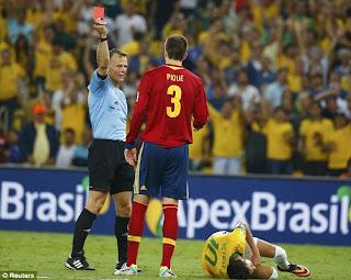 eliminare Gerard Pique brazilia spania finala, cartonas rosu