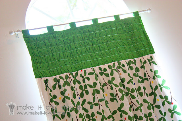 sewing a curtain with blackout lining