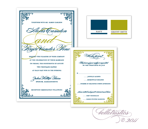 printable diy green blue wedding invitation design