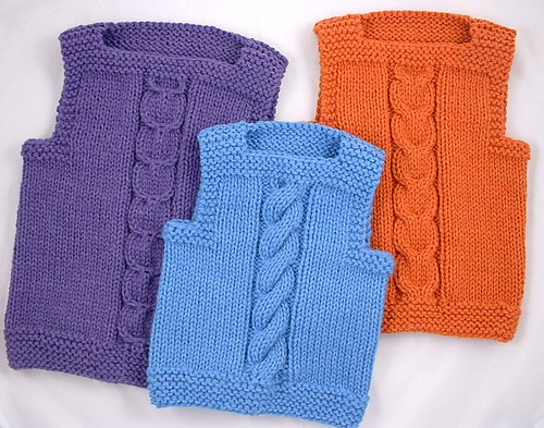 vest cable medium Charity Knitting Patterns
