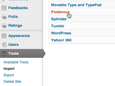 Import Tool Wordpress untuk Posterous