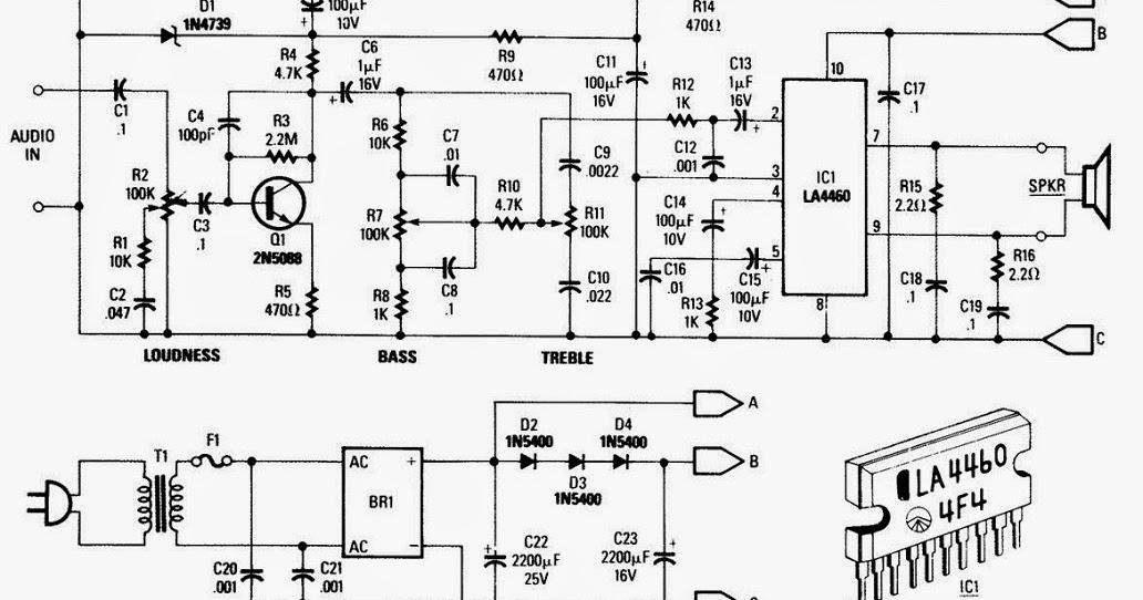 5w audio amplifier based la4460