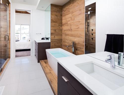 20 banheiros decorados com revestimento que imita madeira  Decor Alternativa -> Banheiros Decorados Porcelanato Madeira