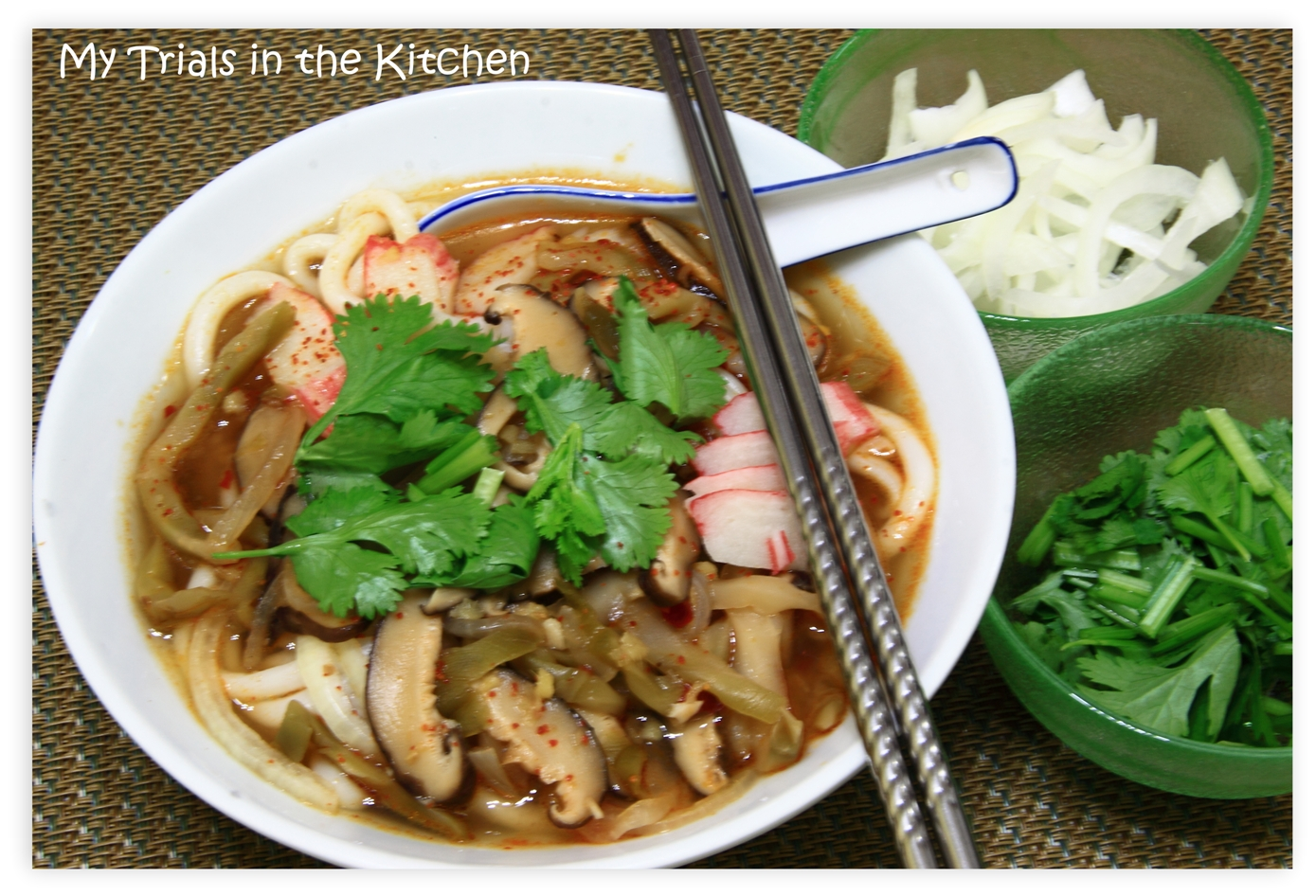 Blue apron udon noodle soup