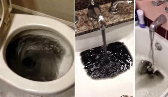 Black water coming out of faucets in California