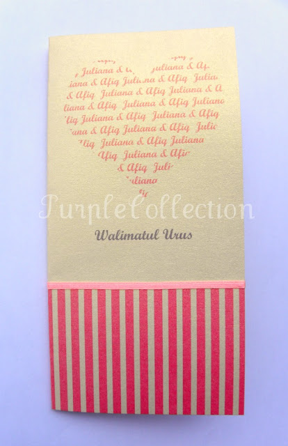 Handmade Malay Wedding Invitation Card, pink heart wedding card, wedding invitation card, malay wedding card, ivory gold, classic fold, handmade card, malay wedding card