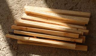 A pile of cross pieces pre-cut