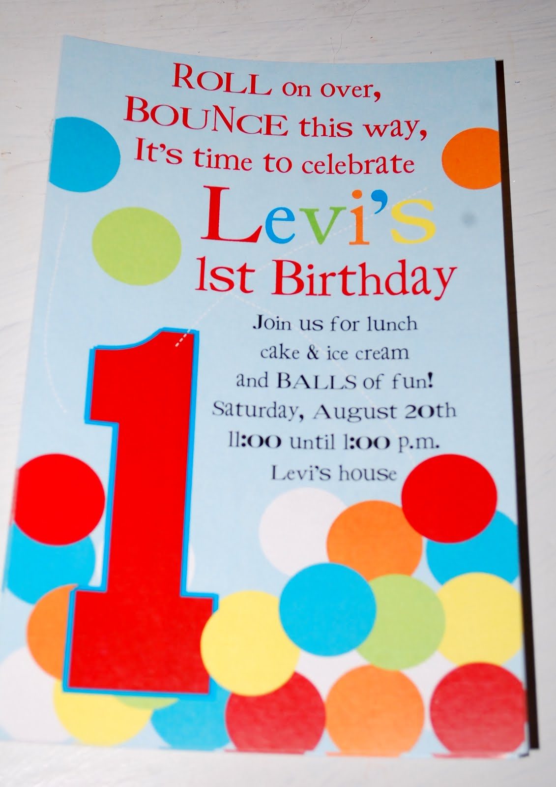 Baby Face Design: Bouncey Ball birthday invitations