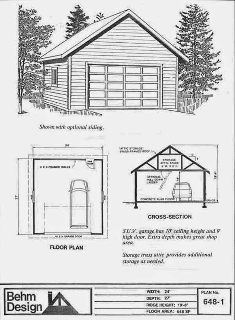 Garage Plan 648 1 2 Car With Attic Truss Roof And 10 Ft Walls   24 X 27