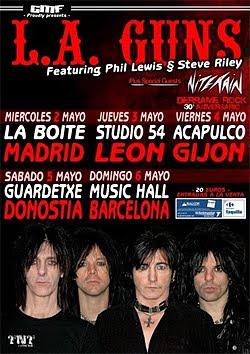 Gira española de LA Guns (Lewis y Riley) en mayo
