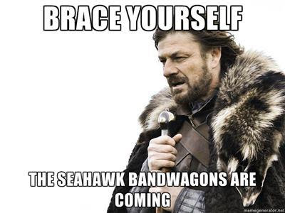 seattle seahawks meme 2014 Superbowl 48 brace yourselves bandwagons are coming