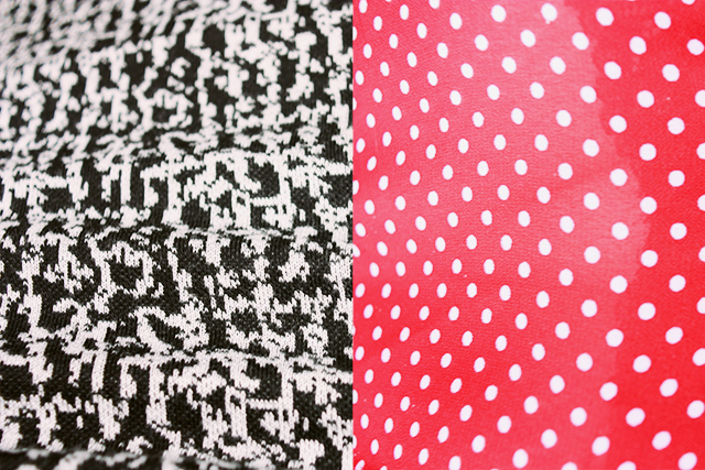 black and white pattern, white on red polka dot pattern