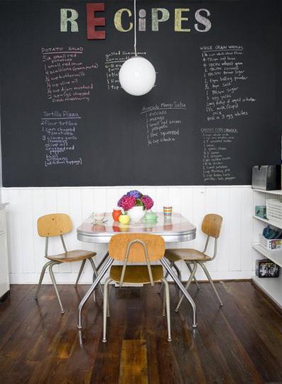 pintar cocina con pintura de pizarra mesas retro y muebles vintage