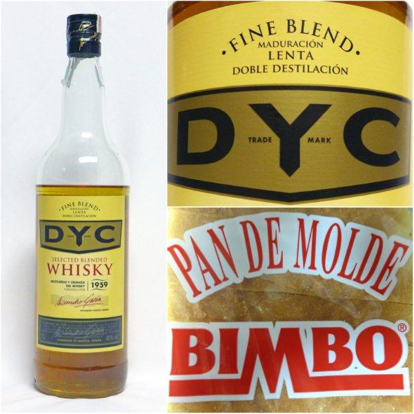 Botella de Whisky Dyc y Pan de molde Bimbo