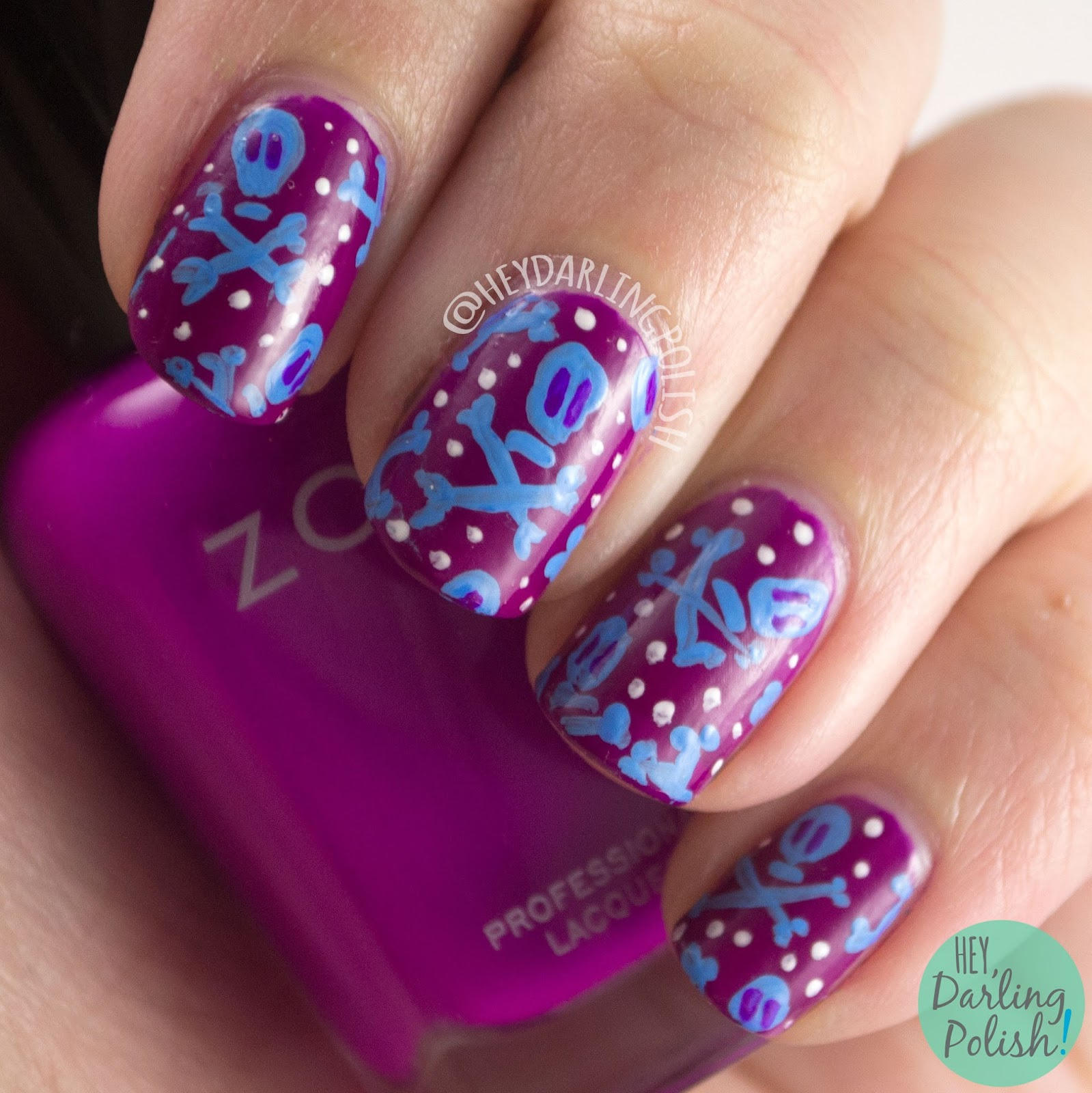 nails, nail art, nail polish, skulls, hey darling polish, purple, blue, bright, nail linkup