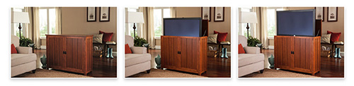 The Arts & Crafts style TV lift cabinet lifts or lowers a TV in less than thirty seconds.