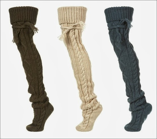 Warm cable knit socks for winter