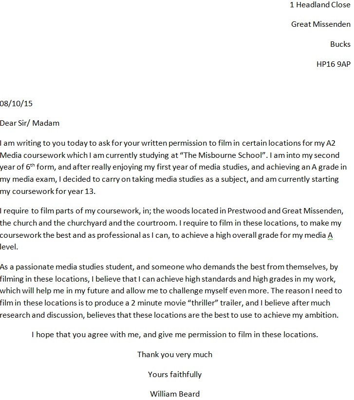 My Letter Asking For Permission To Film Coursework