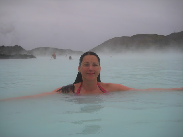 At the Blue Lagoon spa in Iceland.
