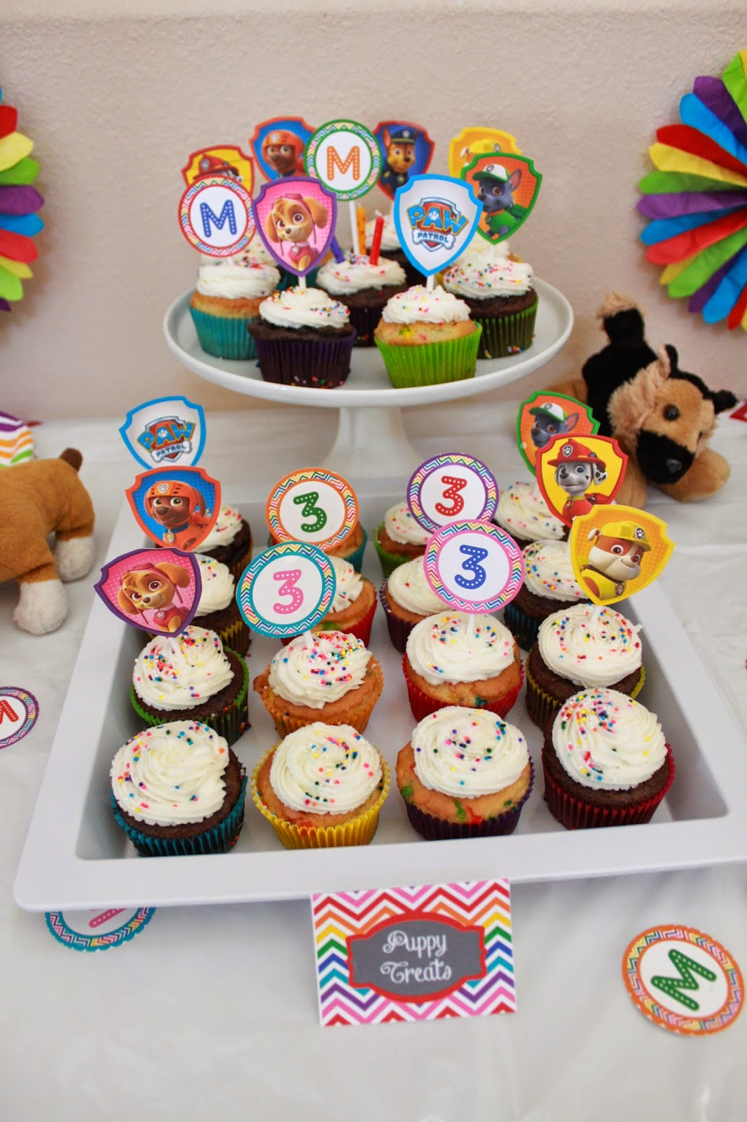 paw patrol birthday dessert table cupcake toppers