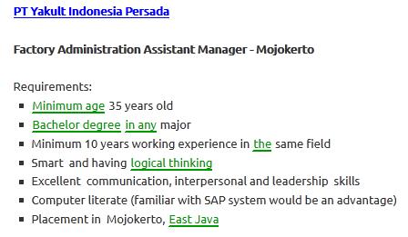 lowongan kerja pt yakult indonesia persada mojokerto