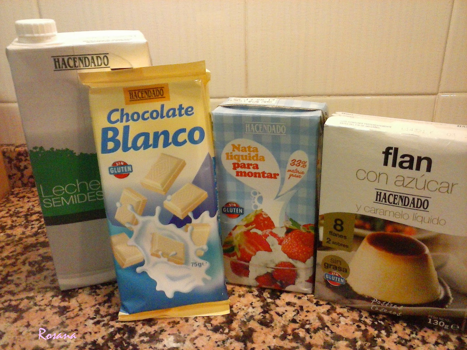 ingredientes flan de chocolate blanco