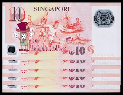 Singapore 10 dollars reverse varieties