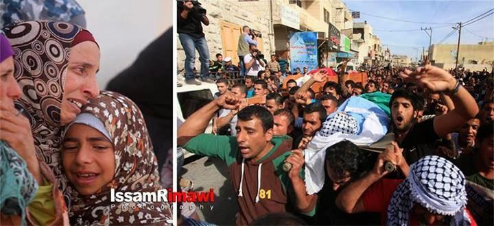 Funérailles de trois martyrs à Hébron sous occupation
