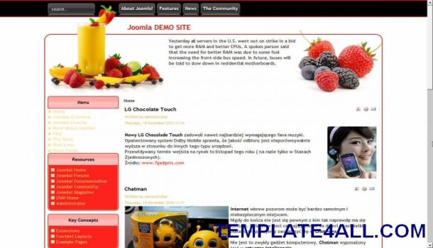 Fresh Restaurant Fruits Joomla Template