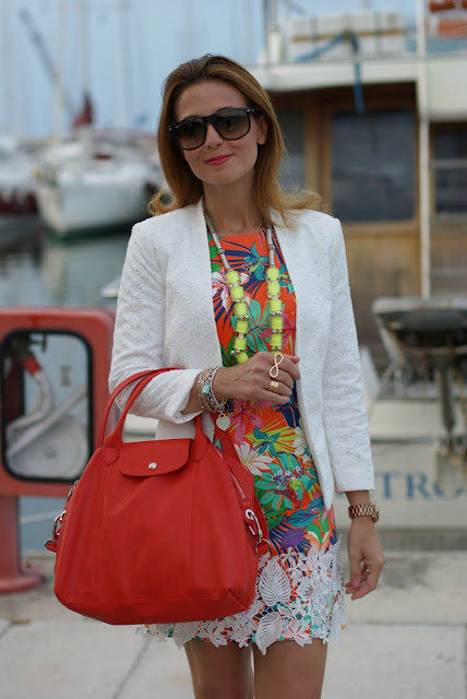 Longchamp Le cuir bag in paprika, mini dress with tropical print, Mango lace jacket, Fashion and Cookies