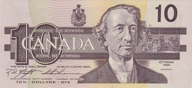 Canadian Banknotes 10 Dollars banknote 1989 Sir John Alexander Macdonald, first Prime Minister of Canada