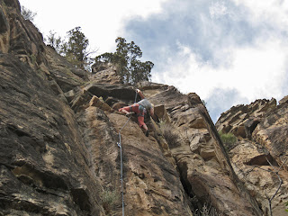 A 5.10a rock climb in Western Colorado