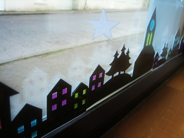 Black Cut-Out Houses in Window - Our Handmade Home