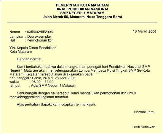 Contoh Surat Undangan atau Surat Dinas Resmi