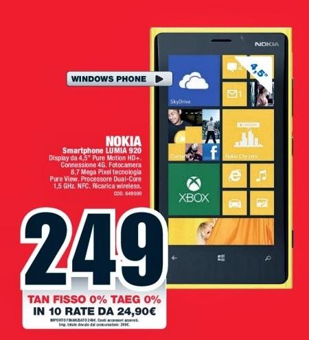 Con un buon prezzo di base di 249 euro e la possibilità di dilazionare il pagamento in 10 rate mensili ecco una buona offerta sul Lumia 920 da Mediaworld