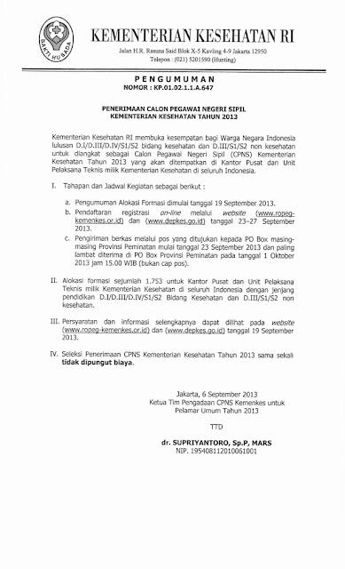 Pengumuman Penerimaan Calon Pegawai Negeri Sipil Kementerian Kesehatan Tahun 2013 http://indonersiacenter.blogspot.com/