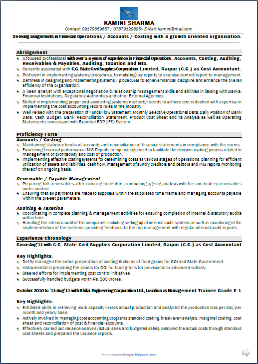 RESUME BLOG CO: Resume Sample: CMA CS   M Com having 6 Years