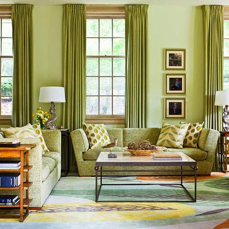 Creating balance with the color of Shades of green paint for living room