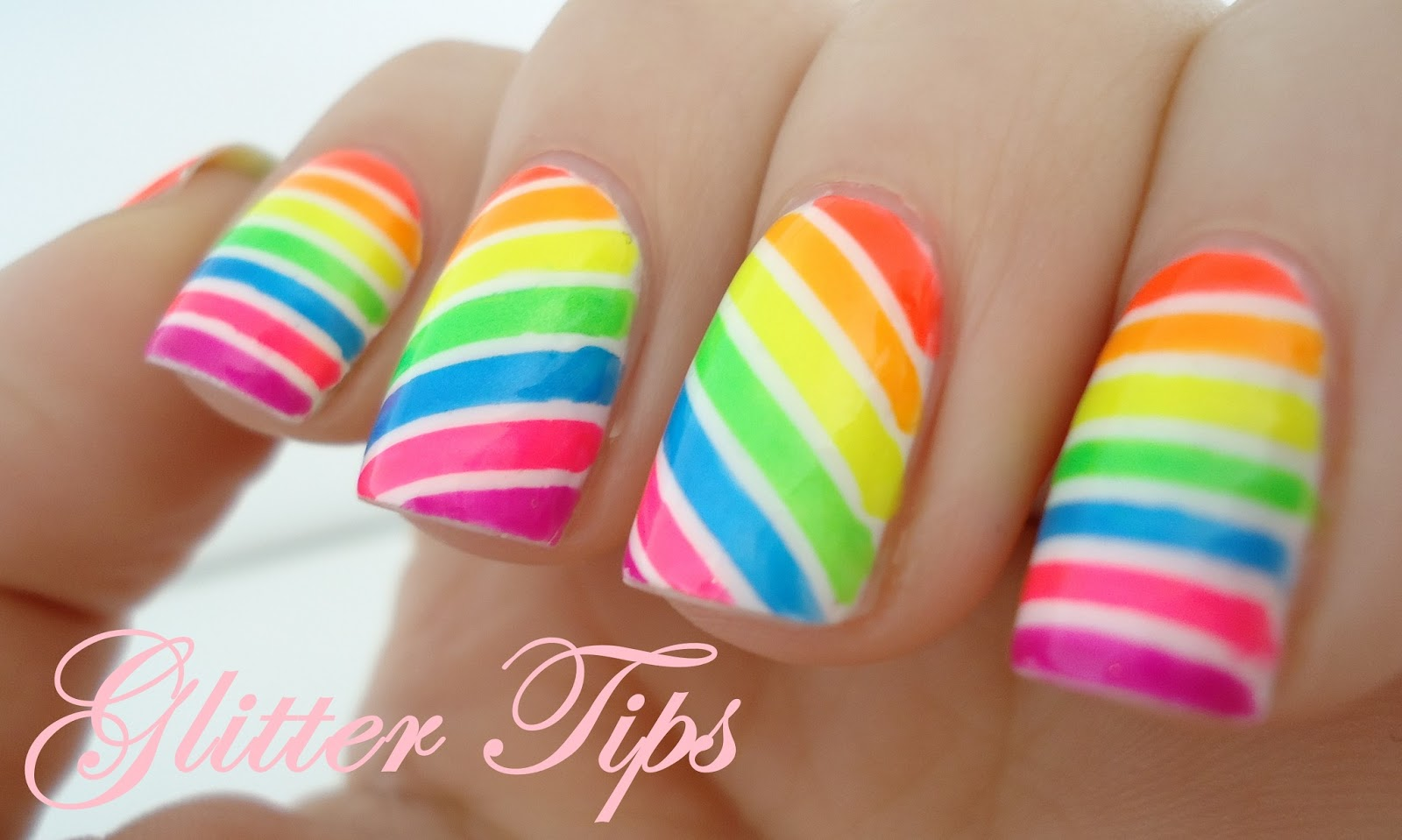 Glitter Tips: Neon Candy Stripes - Nail Art