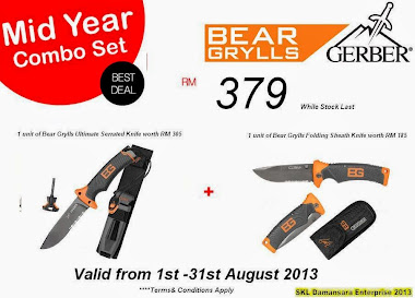 Bear Grylls Combo set (1 unit of BG Ultimate serrated knife & BG Folding Sheath knife )