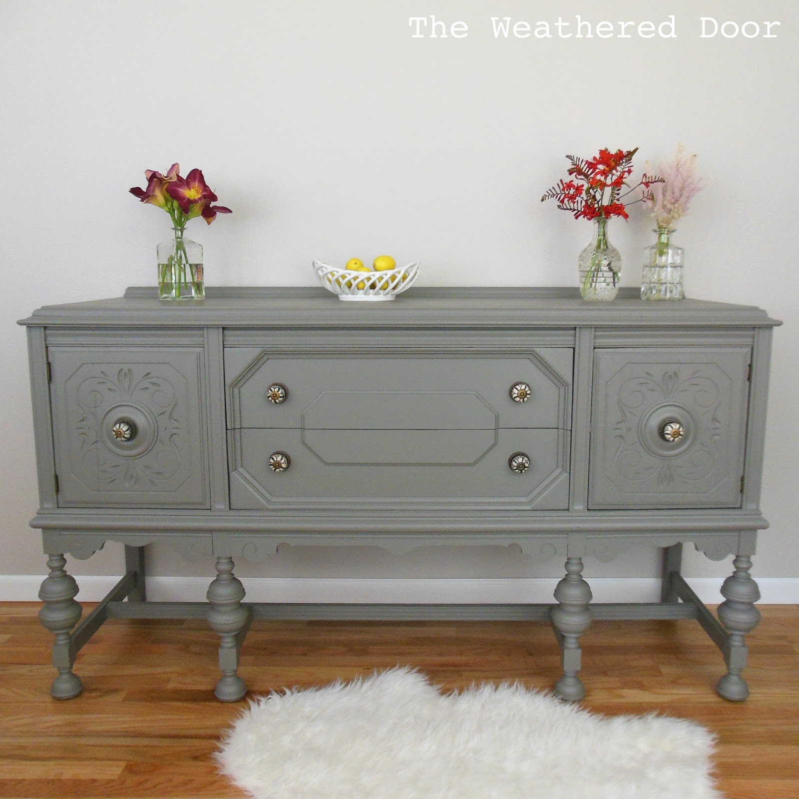 a gauntlet grey buffet the weathered door rh theweathereddoor com grey buffet table grey buffet table with shutters doors