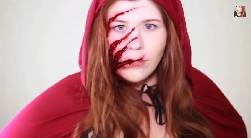 come truccarsi ad halloween, halloween cappuccetto rosso sangue, goldiestarling, halloween make up tutorial video